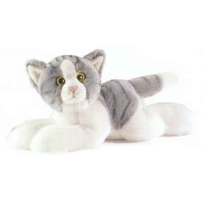Anima - Peluche chat couché gris 30 cm -1952
