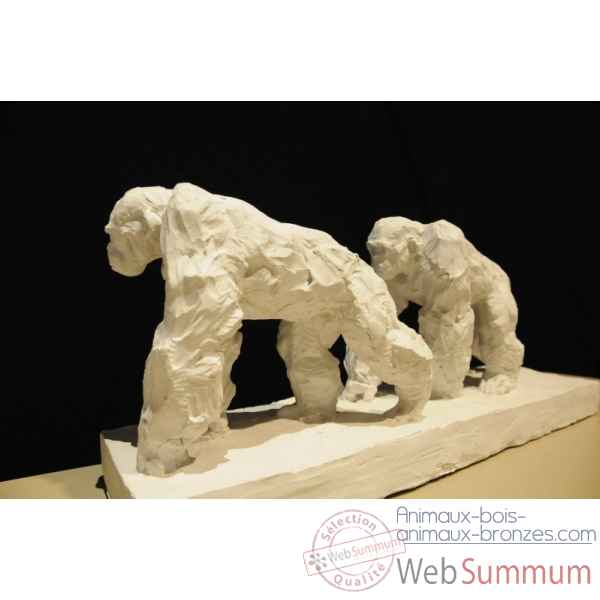 Couple de chimpanzes a l'arret Borome Sculptures -chimp7