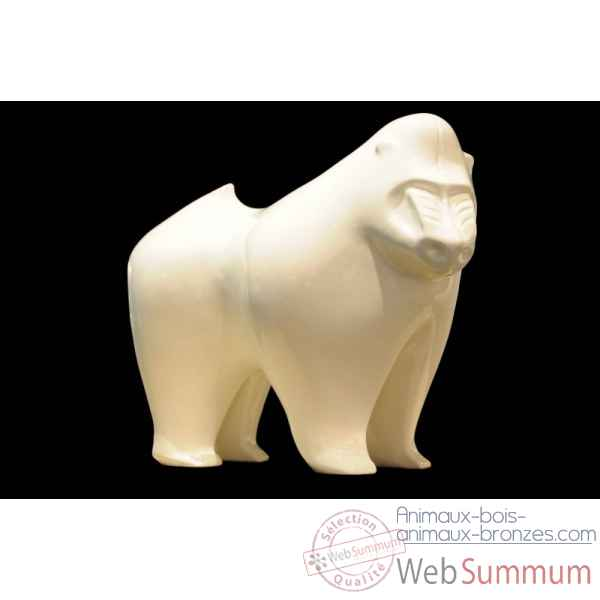 Mandrill blanc en ceramique Borome Sculptures -mandblc
