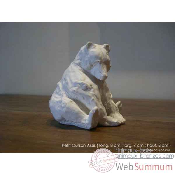 Petit ourson assis en platre Borome Sculptures -oursonassis
