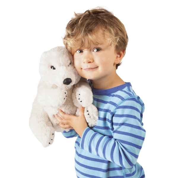 Marionnette a main ours polaire assis peluche Folkmanis -3103