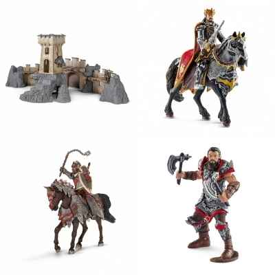 Lot Chateau fort Schleich et chevaliers Dragon du roi -LWS-279