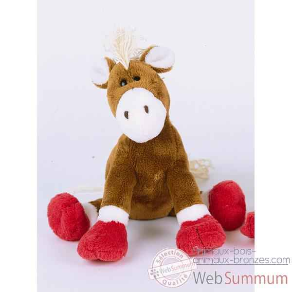 Peluche Poney marron pattes rouges -ho1301