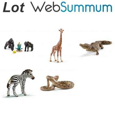 Lot 5 figurines animaux savane Schleich -LWS-79