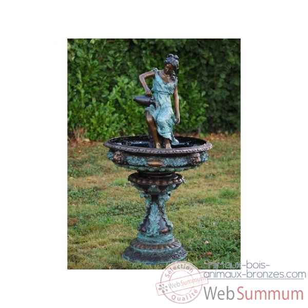 Sculpture femme avec cruchon fontaine en bronze thermobrass -b52290