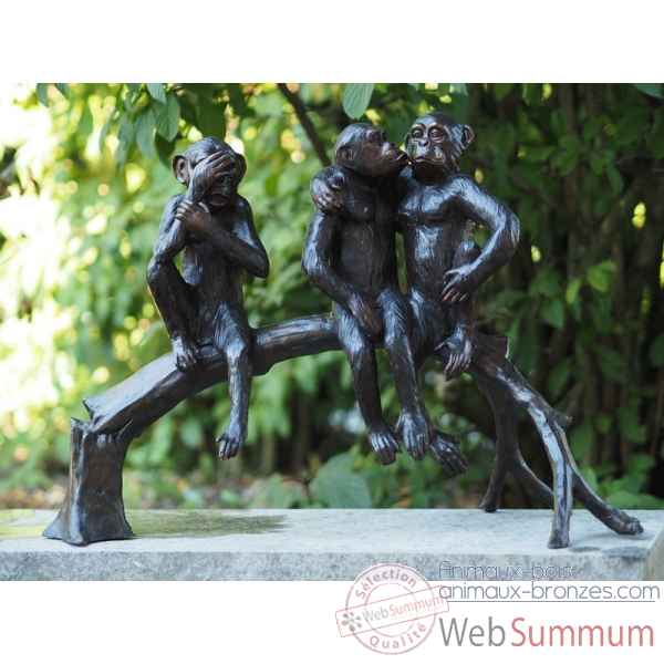 Sculpture 3 singes sur branche en bronze thermobrass -b94254